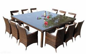 square outdoor dining table outdoor wicker rattan square dinning table seats 12 people table
