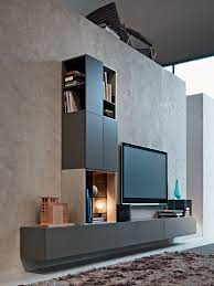 Modern Wall Mounted Entertainment Center Furniture Wall Mount Entertainment Center In Grey With Wall