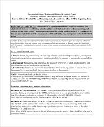 clinical trial report template sle adverse event forms 8 free documents in word pdf