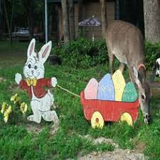 Easter Wooden Yard Decorations happy easter waving bunny outdoor wood sign yard art lawn