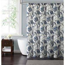 Grey And Blue Curtains Floral Shower Curtains Shower Accessories The Home Depot
