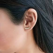 bar stud earrings pavé curved bar stud earrings only 24