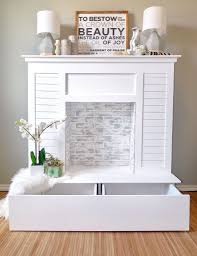 shiplap faux fireplace with hidden storage handmadehaven diy