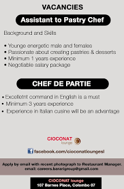 chef de partie en cuisine assistant to pastry chef chef de partie vacancy in sri lanka