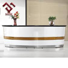 White Salon Reception Desk High End Round Counter Commercial Front Desk White Salon Reception