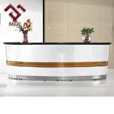 White Salon Reception Desk High End Round Counter Commercial Front Desk White Salon Reception