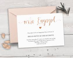 Invitation Card For Engagement Ceremony Rose Gold Engagement Invitation Template We U0027re Engaged