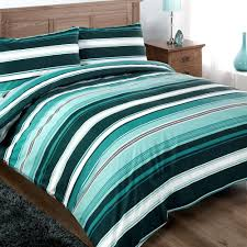 Teal Duvet Cover Single Modern Funky Teal White Striped Cotton Duvet Set Quilt Cover