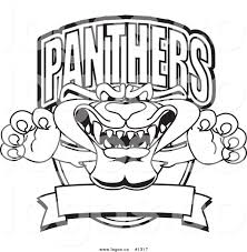royalty free vector logo of an outlined cartoon panther mascot