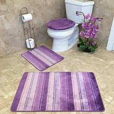 Striped Bathroom Rugs 3 Bathroom Rug Sets Anti Bacterial Rubber Back Non Skid