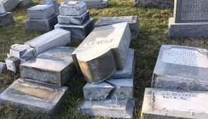 cemetery headstones hundreds of headstones vandalized at northeast philly