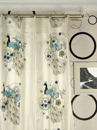 Peacock Curtains Silver Embroidered Peacocks Faux Silk Custom Made Curtains