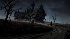 dark village wallpaper dark haunted horror gothic house storm rain art wallpaper