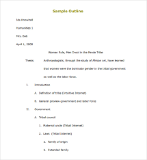 mla format outline for research paper