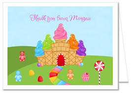 candy land birthday party thank you note cards