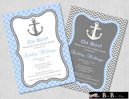 nautical boy baby shower invitation card design with gray blue