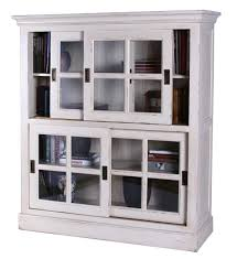white glass door bookcase