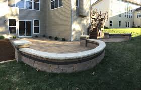 custom paver patio and sitting wall project in wildwood mo