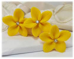 flower hair pins yellow hair flowers yellow flower wedding hair pins