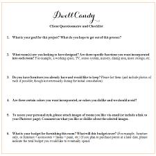 Interior Design Client Questionnaire Pdf