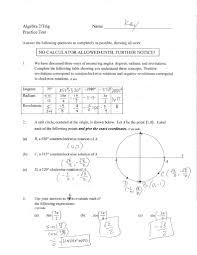 practice test trig unit 1 answer key trigonometric functions angle