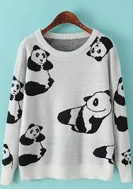 panda sweater grey panda print fashion pullover sweater pullovers sweaters