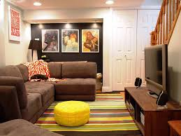 Basement Living Room by Comfy Basement Room Design Featuring Open Living Room With Brown