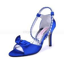 royal blue high heel satin bridal sandals with rhinestones ankle