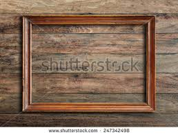 antique wood wall picture frame on vintage wood stock photo 247342498