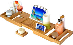 luxury bathtub caddy tray natural color royal craft wood eco