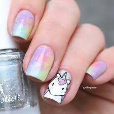 paint all the nails presents dry brush kawaii unicorn rainbow nail