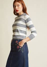 charter sweater charter pullover sweater in grey stripes modcloth