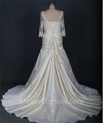 a line scalloped neck corset back ivory satin draped wedding dress