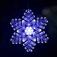 lighted outdoor 6 snowflake ornament design 2 blue