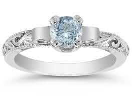1 2 carat art deco aquamarine engagement ring 14k white gold