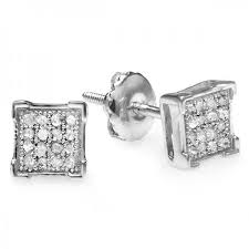 s mens earrings 0 10 carat ctw 10k white gold real diamond v prong