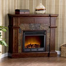 ithaca 60 in w simulated stone electric fireplace in whiskey
