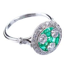 art deco three stone diamond emerald ring for sale at 1stdibs