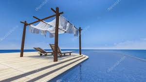 wooden tent daybed and wooden tent stock photo neode 115265236