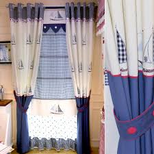 Nautical Window Curtains Blue And White Nautical Insulated Funky Cool Boys Curtains Without