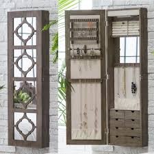 Dark Cherry Armoire Furniture White Traditional Wall Mount Jewelry Armoire With