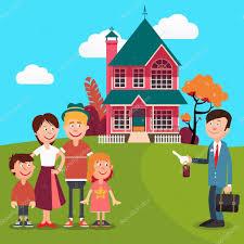 Haus Zu Kaufen Familie Ein Neues Haus Zu Kaufen Immobilienmakler U2014 Stockvektor