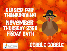 thanksgiving schedule suttons bay bingham district library