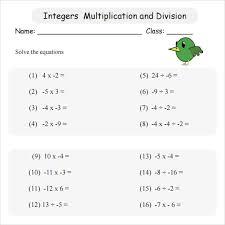 multiply integers worksheet worksheets