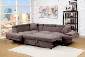 Sectional Sofa With Bed by Foreman Contemporary Style Brown Flannelette Fabric Pull Out