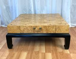 burl wood coffee table large burl wood coffee table with drawers attributed to henredon