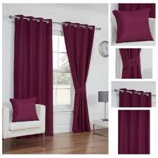 Aubergine Curtains Waffle Aubergine Textured Eyelet Ringtop Lined Readymade Curtains