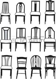 Dining Room Table Clipart Black And White Selection Of Vector Dining Room Chairs Of Different Styles Royalty