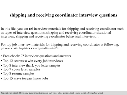 Shipping And Receiving Resume Samples by Shipping And Receiving Coordinator Interview Questions