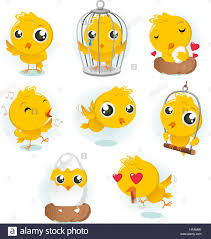 cartoon canary bird action set collection with eight different
